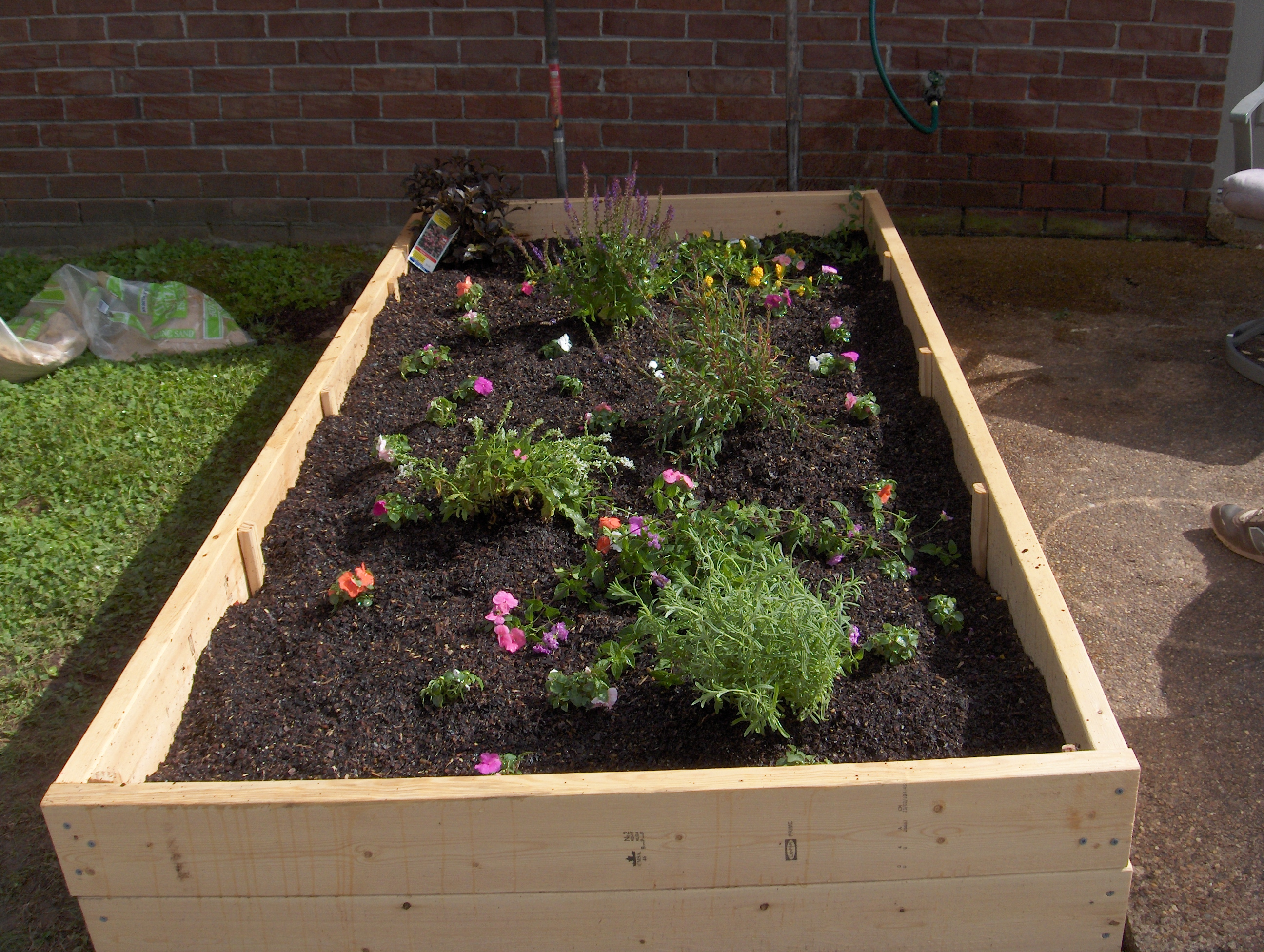 Planted Raised Flower Bed